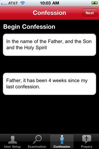 Confessando no aplicativo