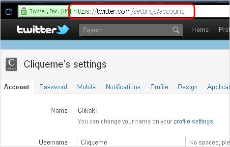 Configurações do Twitter