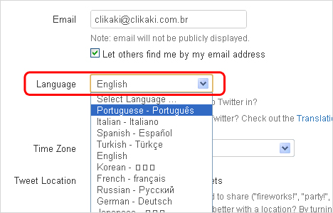 Deixando o twitter em português