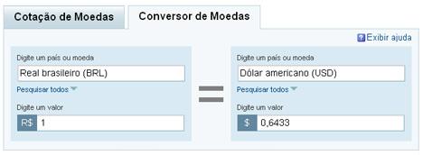 Yahoo Conversor de Moedas