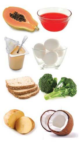 Ovo, mamão, batata, brócolis, gelatina e pão integral, Iogurte, água de coco, sucos naturais são aliados contra a gastrite. (Foto: Dreamstime)