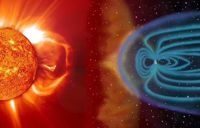 Vento Solar atingindo a magnetosfera