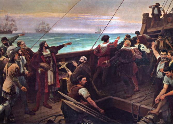 Expedição de Pedro Álvares Cabral chegando ao Brasil (Imagem: Wikipedia)