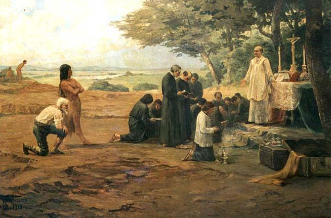 Através da literatura jesuísta e de catequese, os padres ensinavam os índios costumes cristãos.