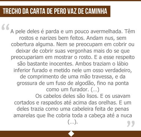 Trecho da carta de Pero Vaz de Caminha