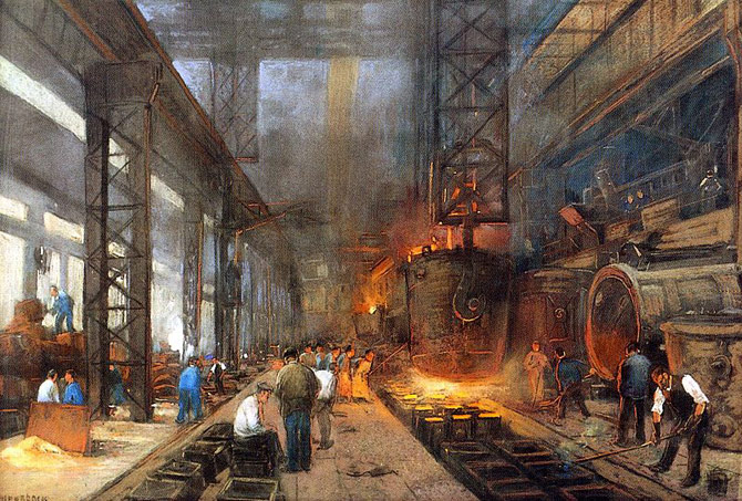 A fundição de ferro em blocos, de Herman Heyenbrock (1890).