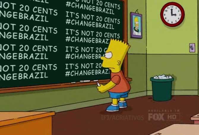 """Episódio de """"Os Simpsons"""" lembrou das manifestações durante a Copa das Confederações."""