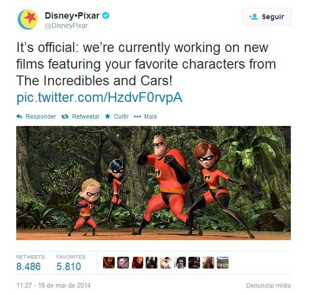 Twitter oficial da Pixar