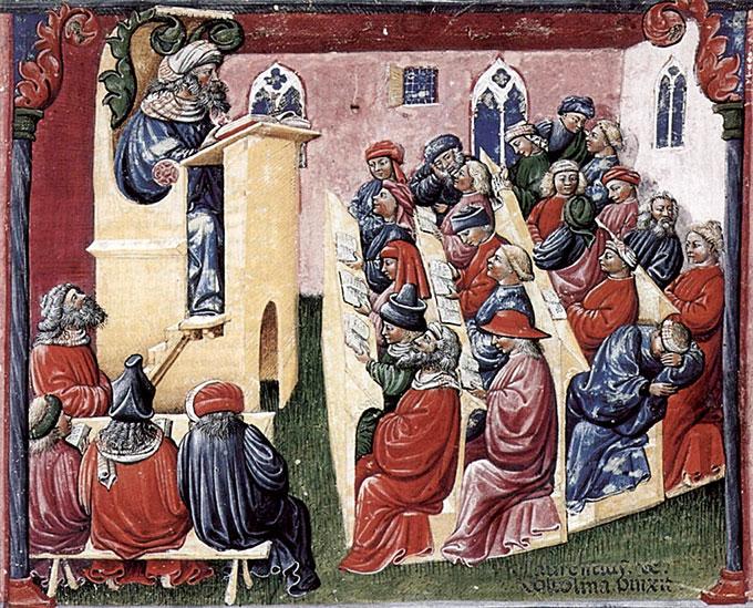 Aula-em-Universidade-Medieval,-Laurentius-de-Voltolina