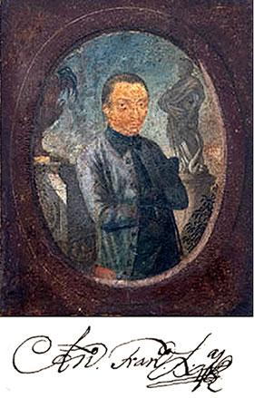 Suposto retrato póstumo de Aleijadinho feita por Euclásio Ventura