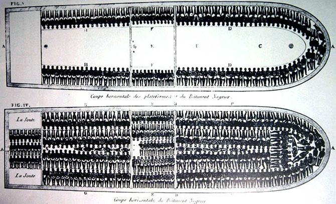 Os navios negreiros transportavam cerca de 300 escravos.