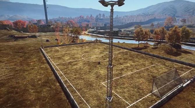 Campo de futebol no Battlefield 4 (Imagem: Reprodução/Youtube).