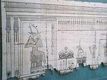 Uma seção original do Livro dos Mortos egípcio, escrito em papiro