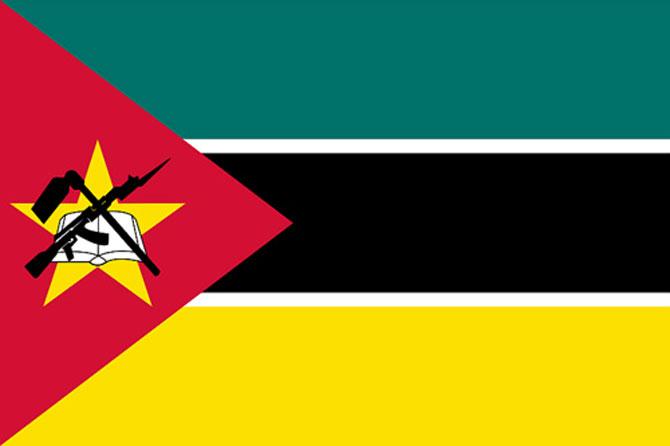 Ak 47 na bandeira de Moçambique