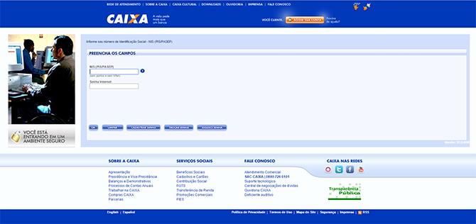 A consulta é feita através do site da Caixa.