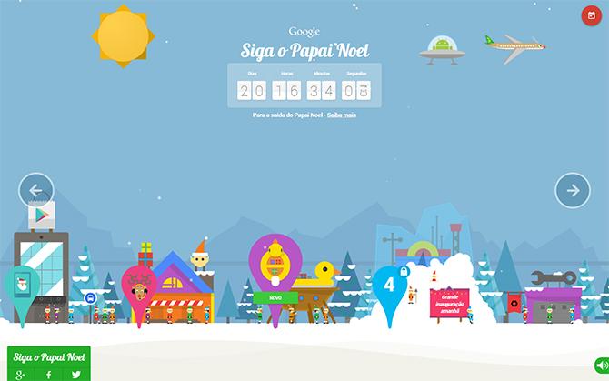 Siga o Papai Noel. (Imagem: Reprodução/Google)