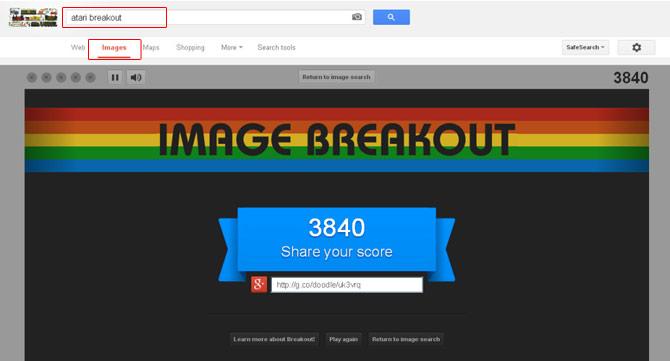 """Para jogar, basta digitar """"Atari Breakout"""" no Google Imagens (Foto: Google/ Reprodução)"""