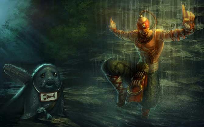 A esquerda da primeira splash art de Lee Sin era possível ver facilmente o Urf