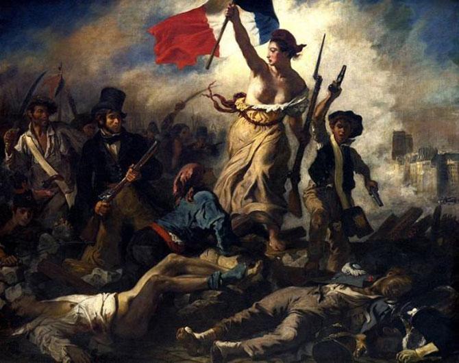 """A rosto é baseado na mulher do quadro """"A Liberdade Guiando o Povo"""""""