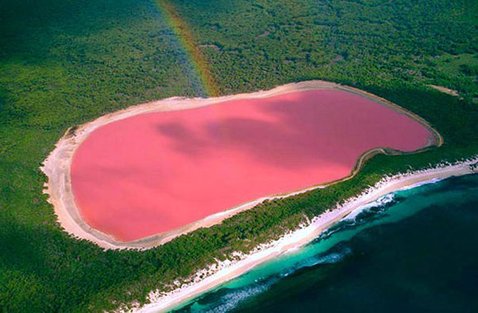 Lago Hiller se encontra no Sul da Austrália Ocidental (Imagem: Reprodução)