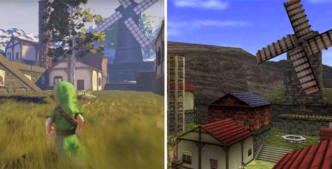 Comparação de gráficos do Unreal Engine 4 e do Nintendo 64