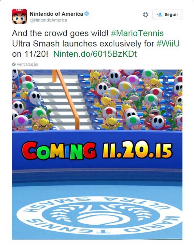 Twitter oficial da Nintendo of America divulgou a data de lançamento